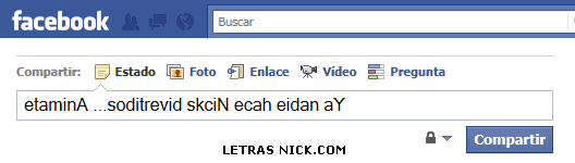 letras al reves para nick de Facebook