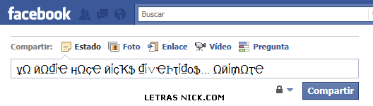 letras bonitas msn de Facebook