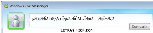 letras bonitas para el nick de Msn Messenger