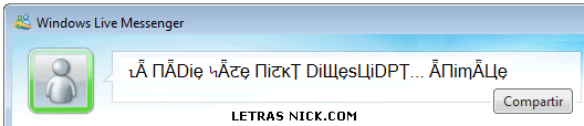 letras cholas para nicks de Msn Messenger