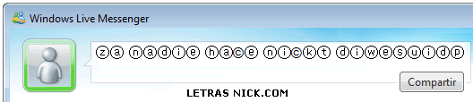 letras con circulos para nick de Msn Messenger