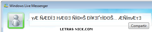 letras diferentes para nick de Msn Messenger