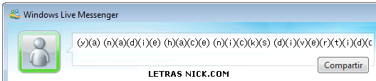 letras entre parentesis de Msn Messenger