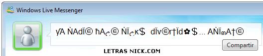 letras grandes para nick de Msn Messenger