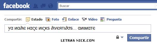 letras griegas de Facebook