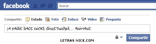 letras minusculas nick de Facebook