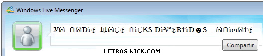 letras nick msn de Msn Messenger