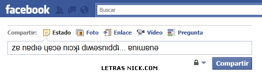 letras para el facebook al reves de Facebook