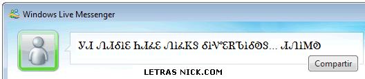 letras para el facebook nick de Msn Messenger