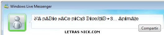 letras para el msn nick de Msn Messenger