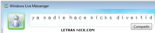 letras para el nick de tuenti de Msn Messenger