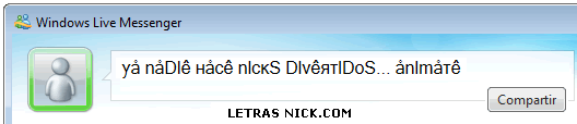 letras para nick de facebook de Msn Messenger