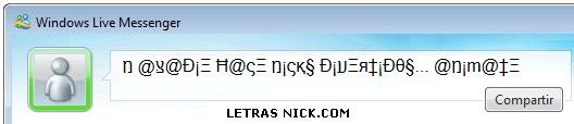 letras para nick msn de Msn Messenger